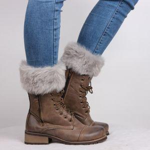 Botas de lã de tricô perna aquecedores de pele das mulheres moda Bota Capa Manter Meias Quentes de lã de Natal meias curtas para o inverno