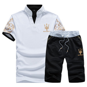 Été Survêtement Hommes Maserati Imprimé Hommes Stall Collar Col V À Manches Courtes Pull Avec Casual Jogger Pantalon Costumes Homme Sportsuit
