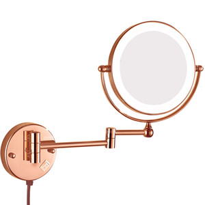 GuRun Lighted Magnification Wall Mount Bathroom Makeup Mirror Extendable Mirrors with Electrical Plug, Magnifying 10x 7x
