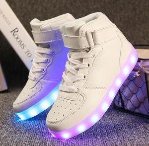 2018 nuevo estilo de alta calidad populares niños niñas zapatos casuales Low-cut LED Light shoes big szie 25-35