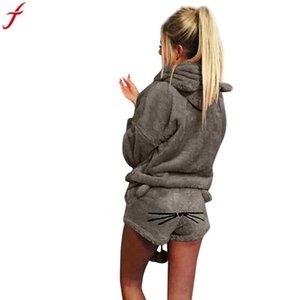 Treino Mulheres Definir 2018 Outono Inverno Quente 2 Peça Mulher Ternos Bonito Cat Hoodie Pijamas Camisola E Pijama Curto conjunto