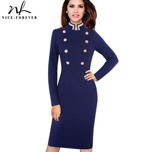 Nice-forever Vintage manga larga color sólido collar del soporte botón de doble botonadura vestidos de trabajo de negocios Bodycon vestido de mujer B410