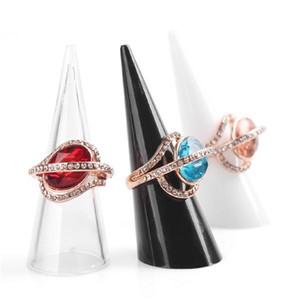 10pcs / lots الأزياء الشعبية البسيطة الاكريليك مجوهرات البنصر حامل المثلث مخروط مجوهرات عرض الجرف