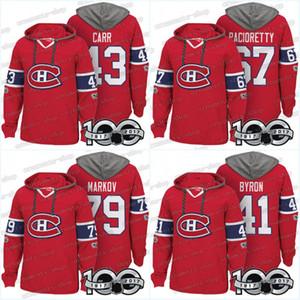 Hombres 100 Jerseys Montreal Canadiens 41 Paul Byron 43 Daniel Carr 67 Max Pacioretty 79 Andrei Markov Hoodies Jerseys Sudaderas