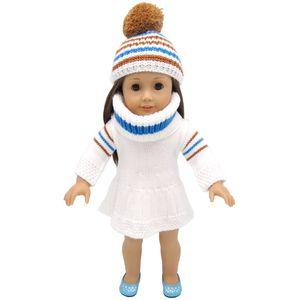 18 pouces American Girl vêtements de poupée pull robe avec des chapeaux et une écharpe pour les jouets cadeau de fête enfant - vêtements de poupée Accessoires pour American Girl