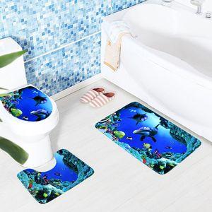 2018 3 piezas Alfombrillas de baño antideslizantes Alfombras de baño Océano Mundo submarino Alfombrilla de baño Tapa de alfombra Alfombrilla de baño Alfombrillas de baño