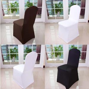 Couverture de chaise de mariage de l'hôtel en gros de mariage de mariage de couleur pure avec couverture de chaise de banquet haut de gamme élastique blanc épais livraison gratuite