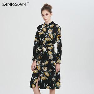 SINRGAN Vestidos stampa floreale kimono abito camicia donne Sexy club abiti manica lunga vintage inverno vestito vetement femme 2018