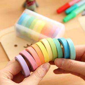 10 teile / paket Beschreibbare Rolls Papier Washi Masking Tape Regenbogen Farben Klebrige Candy Einfarbig Papier Band Beliebte Schreibwaren 2016