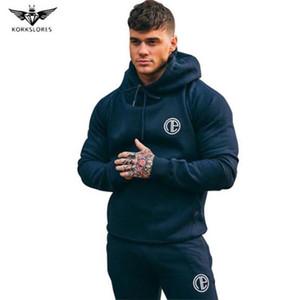 KORKSLORES Yeni Sonbahar Spor Kapüşonlular Marka Giyim Erkek Hoody kazak Casual Kazak Muscle Erkek Slim Fit Kapşonlu Ceketler