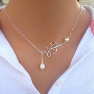 Joyería fina Mujeres Hoja de perlas Colgante Collares Chapado en plata Lady Party Dress Charms Infinity Cadena Collar de perlas