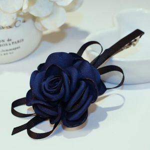 Coreano Marca Acessórios de cabelo Tecido Big Flower Hairpin Mulheres Jóias rosa, roxo, azul, céu azul