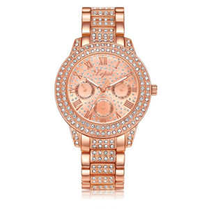LVPAI Frauen Quarz Armband Uhr Damen Kleid Stahl Band Runde Zifferblatt Strass Armbanduhr Femme