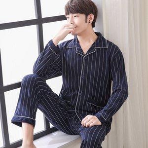 2018 Yuzhenli Men Pajama Conjuntos Primavera Otoño Invierno Más Tamaño 100% Algodón de Manga Larga Ropa de Dormir Masculino 3XL Conjunto de Salón Conjunto de Chándal