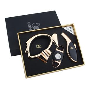 COHIBA Высококачественный черный набор сигар с пепельницей, ножом и зажигалкой - хороший подарок для друга