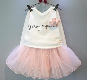 Bear Leader schöne Mädchen weißes T-Shirt und rosa Rock mit Strass Kleidung Set SpringSummer Kinder Kleidung Sets