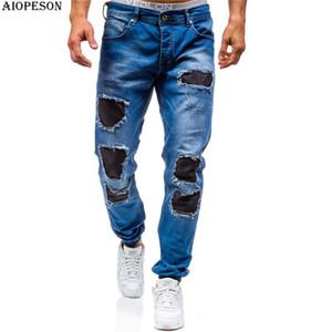 AIOPESON 2018 Tendência Da Marca Calça Jeans Dos Homens de Alta Qualidade Patchwork Comprimento Longo Calça Jeans Homens Apliques Casuais Calças Regulares Homens