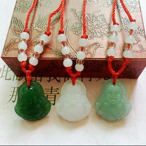 Giada imitazione Buddha pendente in vetro bianco Guanyin rosso stringa collana amanti gioielli