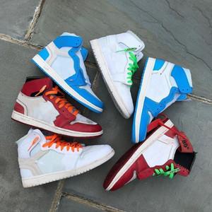 Kutu beyaz top Kalite Yeni 1 Chicago kırmızı erkek ve kadın Basketbol Ayakkabı Toz Mavi UNC Atletik Spor Sneakers.