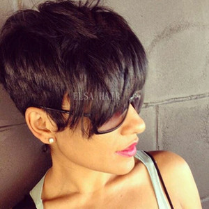 Classic Human Hair CapluSless Wigs PIXIE CUT PERMINES COUPES COUCHES Fabriqué Non Perruques de dentelle Perruques de cheveux Brésilien Cheveux Humains pour femmes noires