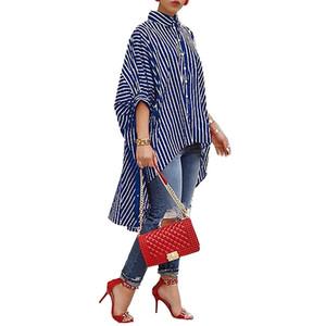 Vêtements de bureau femmes rayé impression occasionnels grande jupe chemise dames tops irréguliers taille plus grande chemise à manches chauve-souris