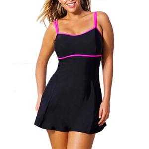 Verão One Piece Swimsuit Swim Skirt Swimwear Tanga Maiô Mulheres Brasileiras Desgaste Natação Preto Monokini Do Vintage Plus Size L-3XL