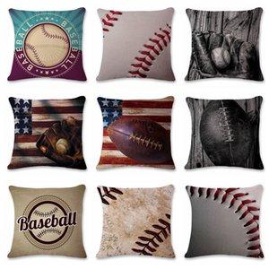 9 Diseños 45 * 45 cm Funda de almohada de fútbol de béisbol Algodón de lino Cojín cuadrado Sofá Coche Sala de estar Funda de almohada de maternidad GGA109 60PCS