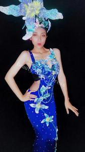 DJ DS Songbird Glisten Rhinestones Flores Stretch Dress Mujeres Dance Outfit Stones Mesh Sexy Dress Cantante Femenino Cumpleaños Celebrar Vestido