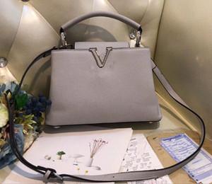 Capucines üst çanta sapı kadınların deri çanta V çanta Kadınlar yüksek kaliteli Alışveriş torbaları omuz crossbody Bag handbags