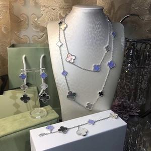 Kadınların düğün kolye bilezik küpe takı seti anne kabuk yonca takı için Marka toptan 925 gümüş, dört yapraklı çiçek takı seti