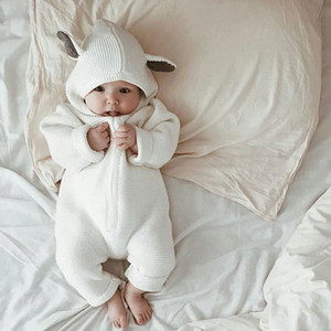 Newborn Baby Boys 2018 Spring Autumn Rompers Cute Hooded Baby Boys Girls Romper Baby Jumpsuit For Kids Boys Clothing