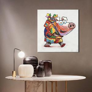 Happy Piggy, reines handgemaltes HD Kunstdruck / Poster Modernes abstraktes Tierkunst-Ölgemälde auf hochwertiger Leinwand, Home Wall Decor Multi Größe a01