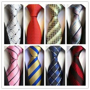 2019 TIE heiße Art und Weise Krawatte Mens klassische Krawatten formale Hochzeit Geschäft Weiß Rot Rosa Streifen-Bindung für Herren Accessoires Krawatte Bräutigam Krawatten