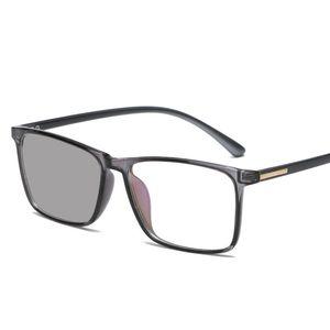 Männer Brille Anti-Blu-ray verfärbt Brille Sonnenbrille Mode tr90 Mode Vintage Platz Sonne Farbwechsel Anti-Vertigo NX