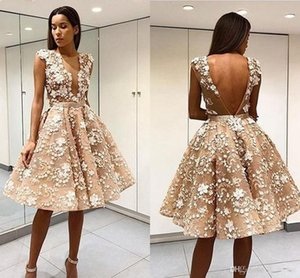 Elegant Robe De Soiree Champagne Short Prom Dresses Sexy Open Back Lace Appliqued Knee-Length Tulle 2018 Cocktail Party Dresses Formal