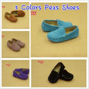 Precio de fábrica de alta calidad Kids Causal simples zapatos de guisantes de cuero bebé Slip-on Walker Shoes antideslizante 19-30 yardas para niños de diferentes edades