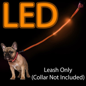 LED Light Up Dog Leash, durable, poids léger. Laisse de chien LED Light Up collier brillant sécurité clignotant en nylon réglable