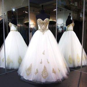 Платья Quinceanera 2020 Скромное сладкое 16 бальное платье Золотые кружевные бусы Пром платья Белый тюль зашнуровать день рождения Vestidos De 15