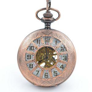 Reloj de bolsillo H245 Luxury See Through Hand Wind UP Reloj Dial de bolsillo White Dial Copper Tone New Nice Reloj de regalo para hombre