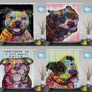 Nette Pitbull Duschvorhänge Leichtigkeit Kunst Hund Badezimmer Duschvorhänge Lustige Tier Hochwertigen Polyester Badezimmer