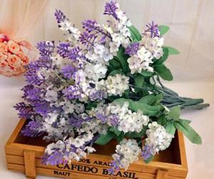 Buket 10 adet / grup Yapay Lavanta İpek Çiçek Buket Düğün Dekorasyon için Dekoratif Çiçekler (hayır vazolar)