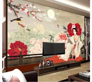 Пользовательские 3d настенные фрески обои 3d фото обои фресок национальный цвет душистый женская фигура ТВ фоне стены картины домашнего декора