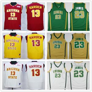 NCAA, Arizona, sol, diabo, faculdade, # 13, James, Harden, Jersey, costurado, St., Vincent, Mary, alto, escola, irlandês, 23, LeBron, james, basquetebol, jerseys