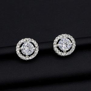 Round Stud Earrings For Women Shiny Crystal Wedding Earrings Bohemian Beautiful Diamond Earring Full CZ Zircon Ladies Girls Jewelry
