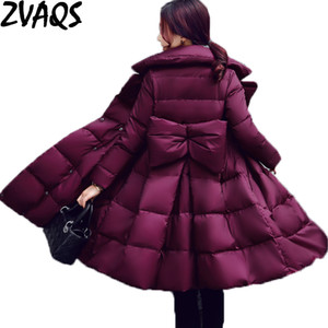 ZVAQS Winter Jacket Women 2017 New Wave Skirt Winter Jackets Turn Down Collar Female Slim Coats Thick Warm Down Parkas ST236