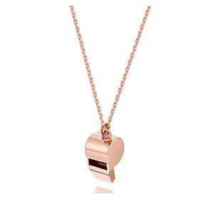 100% 925 Sterling Silver Rose Gold Whistle Necklace Women Fashion Clavicle Chain pure s925 silver fine jewelry