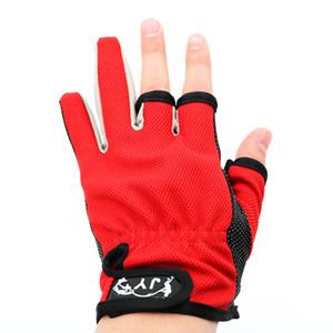 Guanti da pesca in pelle sportiva 1Pair / Lot 3 Mezzi guanti antiscivolo traspiranti MeoprenePU