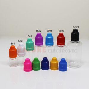PET garrafas transparentes para suco de vape E-líquido 5ml 10ml 15ml 20ml 30ml garrafa de 50ml de plástico com tampas à prova de crianças Longo fino conta-gotas dicas cap