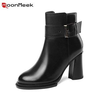 MoonMeek moda 2018 otoño invierno mujeres botas venta caliente mediados de botas populares damas de cuero genuino