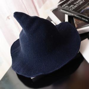 Sólido plano Hip Hop Bucket Hat a lo largo de la gorra de lana de oveja tejer sombrero de pescador Qiu Dong moda femenina bruja señaló Basket Bucket
